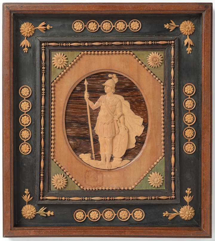 A North Italian microcarving portrait relief miniature attributed to Giuseppe Maria Bonzanigo